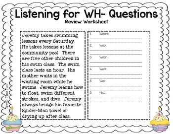 Cupcake Listening for WH- Questions