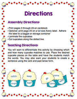 Cupcake Match - Irregular Past Tense Verbs
