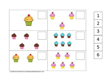 Cupcake Match the Numbers preschool learning game.  Child care business lessons.