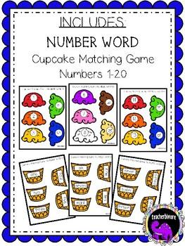 Cupcake Matching Game: Number Words 1-20