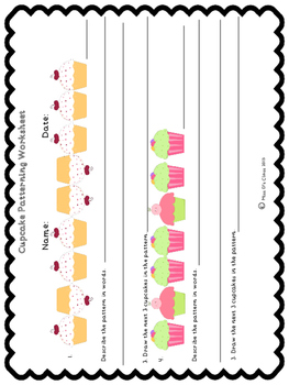 Cupcake Math worksheets Grade 2