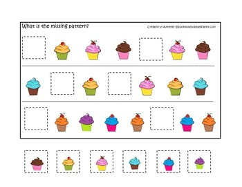 Cupcake Missing Pattern preschool learning game.  Child care business curriculum