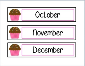 Cupcake Monthly Calendar Cards