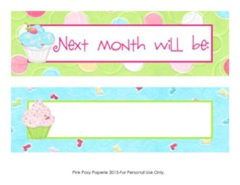 Cupcake Monthly Calendar Headers