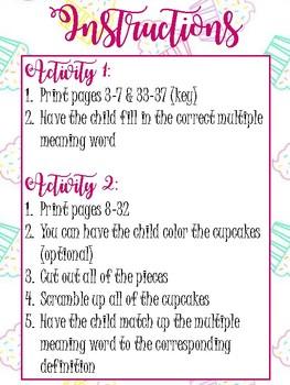 Cupcake Multiple Meanings/Homonyms