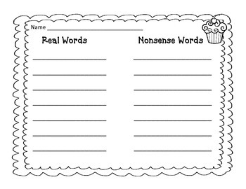 Cupcake Nonsense Words Read and Write