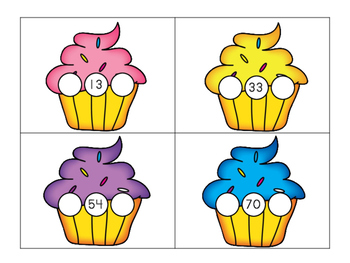 Cupcake Number Order, two digit missing numbers