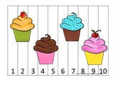 Cupcake Number Sequence Puzzle preschool learning.  Child care business lessons.