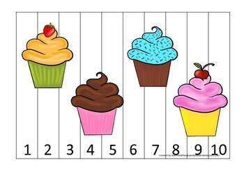 Cupcake Number Sequence Puzzle preschool learning.  Child