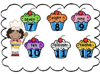 Cupcake Number Word Match Math/Reading Center