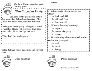 Cupcake Party Close Reading