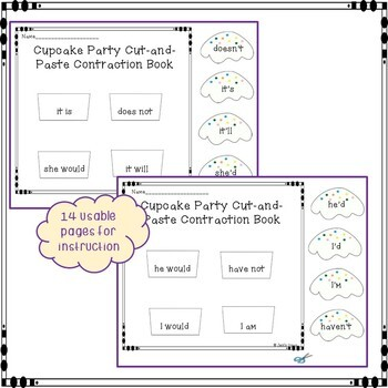 Contractions: Interactive Notebook Cut & Paste Cupcake Party
