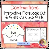 Contractions Interactive Notebook Cut & Paste Cupcakes