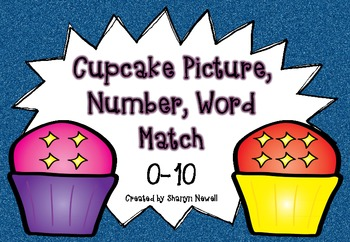 Cupcake Picture, Number, Word Match {0-10}