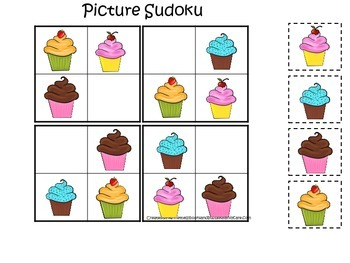 Cupcake Picture Sudoku preschool learning game.  Child care business curriculum
