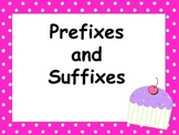 Cupcake Prefix and Suffix Task Cards