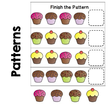 Cupcake Preschool Pack: Pre-writing, Counting, Patterns, Sorting, File Folder