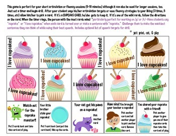 Cupcake Quick Drill {for articulation & fluency therapy or RTI!}