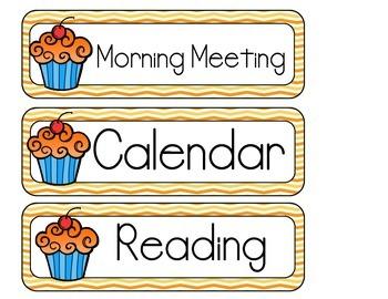 Cupcake Schedule Cards
