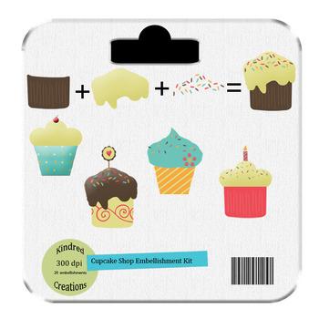 Cupcake Shop, Build a Cupcake Digital Clip Art Set