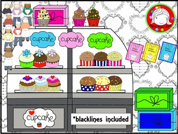 Cupcake Shop Clipart (Personal & Commercial Use)