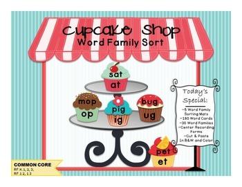 Cupcake Shop Word Family Sort