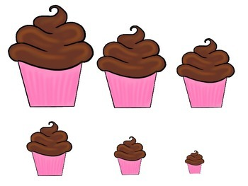 Cupcake Size Sequence preschool learning game.  Child care business curriculum