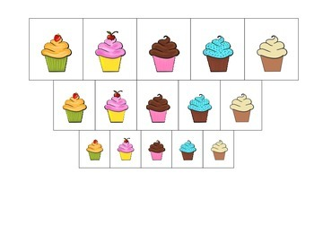 Cupcake Size Sorting preschool learning game.  Child care business curriculum