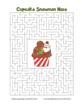 """Cupcake Snowman"" Maze! Holiday FUN! (Color and Black Line)"