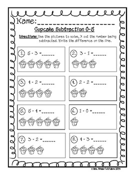 Cupcake Subtraction 0-5