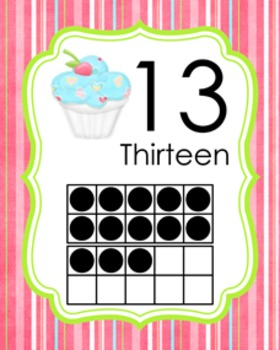 Cupcake Ten Frame Posters 11 - 20