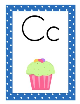Cupcake Theme Alphabet Posters, Print Font