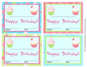Cupcake Theme Birthday Certificates