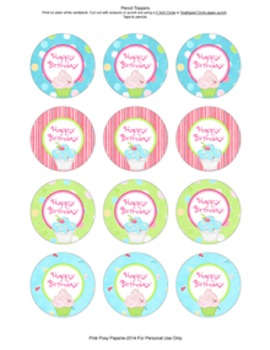Cupcake Theme Birthday Pencil Toppers