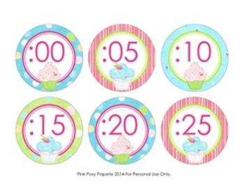 Cupcake Theme Clock Number Labels