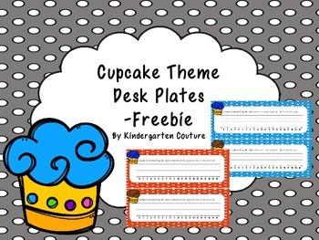 Cupcake Theme Desk Plate -Freebie