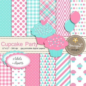 SET: Cupcake Theme Digital Papers and Clipart,