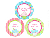 Cupcake Theme Pencil Caddy Labels