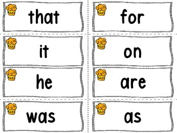 Cupcake Theme Word Wall Letters and 100 Fry Words