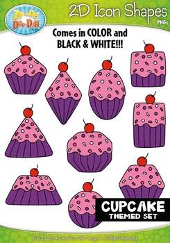 Cupcake Themed 2D Icon Shapes Clipart Set — Includes 20 Graphics!