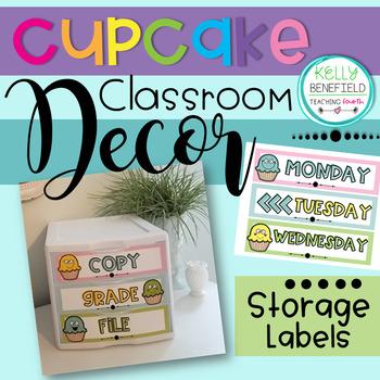Cupcake Themed 3 Drawer Storage Bin Labels
