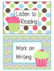 Cupcake Themed Daily 5 Cards and Labels