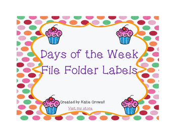 Cupcake Themed Daily File Folders