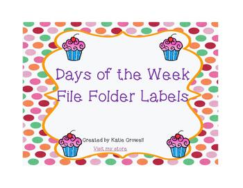 Cupcake Themed Daily File Folders