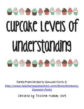 Cupcake Themed Levels of Understanding for Common Core Sta