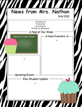 Cupcake Themed Newsletter