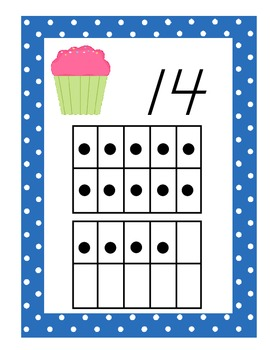 Cupcake Themed Number Wall Posters With Ten Frames, 0-20