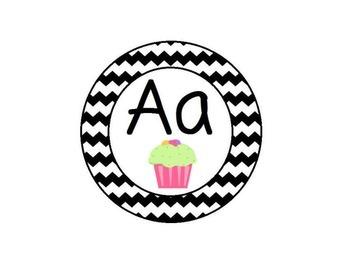 Cupcake Themed Word Wall Alphabet with Black Chevron: