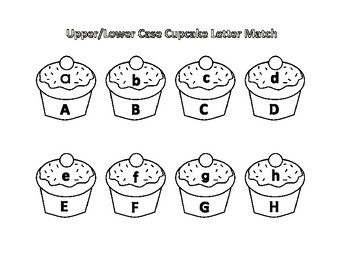Cupcake Upper and Lower Case Letter Matching Game