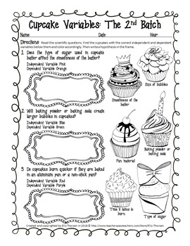Cupcake Variables Coloring Worksheet Set: Hypotheses and Variables Practice